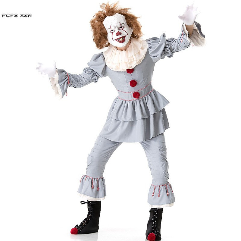 Unisex Children Stephen King's It Cosplays Boys Halloween Clown Joker Pennywise Costumes Carnival Purim masked ball party Dress