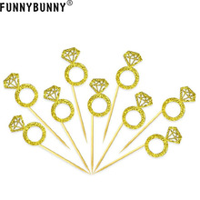 FUNNYBUNNY Gold Glitter Diamond Ring Cake Toppers for Marriage Engagement Anniversary Birthday Valentines Party Cake Decor funnybunny cupcake toppers gold glitter crown cake decoration dessert table birthday party decor