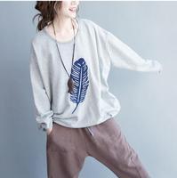 2017 herbst Neue Mode Frauen Lose Beiläufige Flügel-hülse T-shirt Hohe Qualität Big Size Tops Terry Baumwolle Druck T-shirt