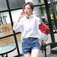 Womens Blouses New Fashion Casual Spring Summer Ladies 2017 Puff Sleeve Solid Embroidery Long Sleeve Turn