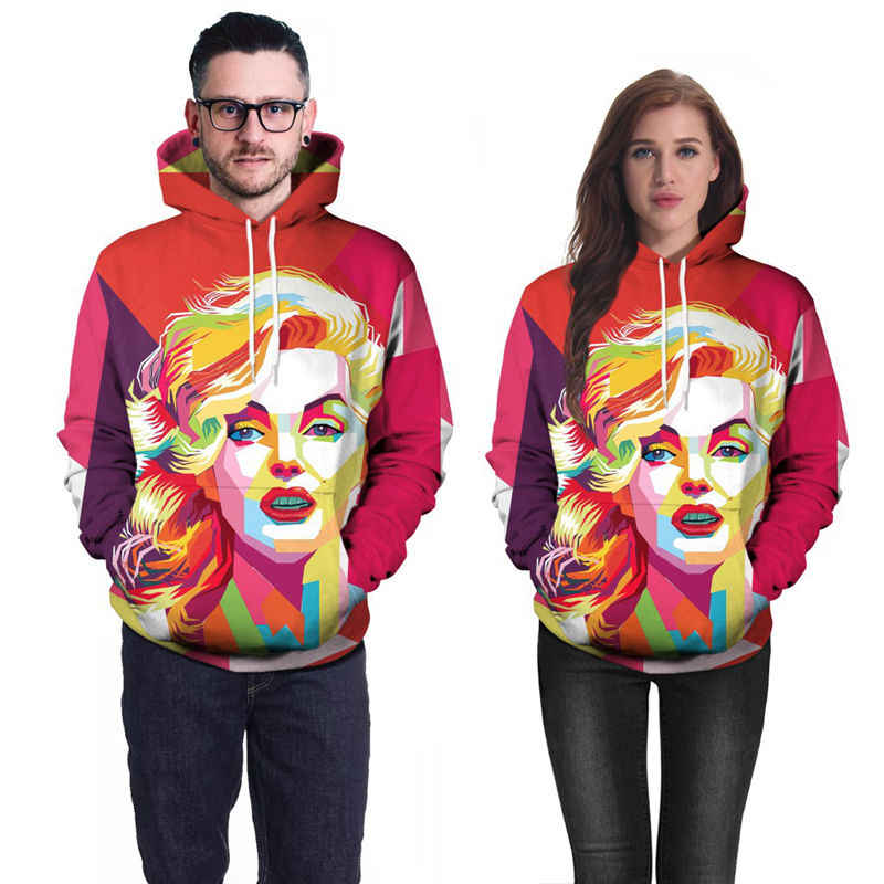 3a377feda655 ... New 3D Marilyn Monroe Hoodie Sweatshirt Men Women Long-Sleeve Autumn  Winter Hoodies Jacket Unisex ...
