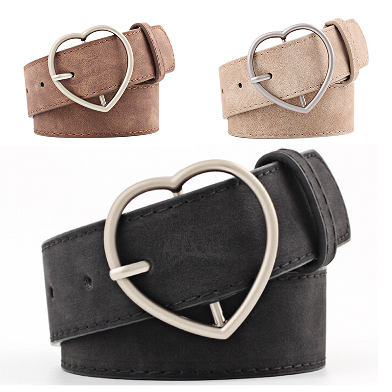 Women PU Belts Frosted Leather Belt Brand Belts Women Heart Shape Pin Buckle Designer Belts