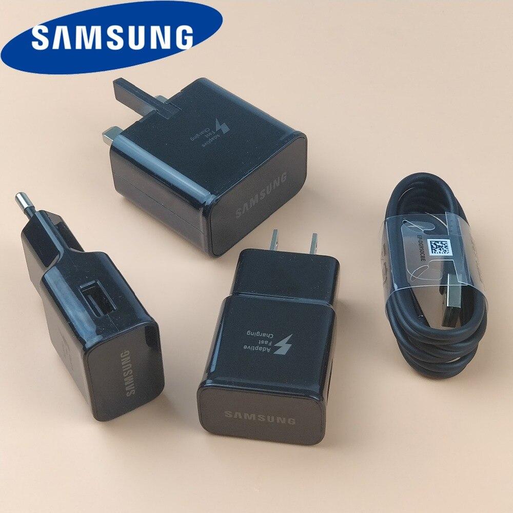 Оригинальный samsung galaxy s9 плюс быстрый Зарядное устройство Qc2.0 стены 9 В 1.67A зарядки Мощность адаптер <font><b>Usb</b></font> Тип-C кабель для s9 S8 S7 смартфон