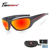 QUESHARK Для мужчин поляризованные очки для рыбалки черный с защитой от УФ для кемпинга походные очки красный объектив Спортивные очки велосип...