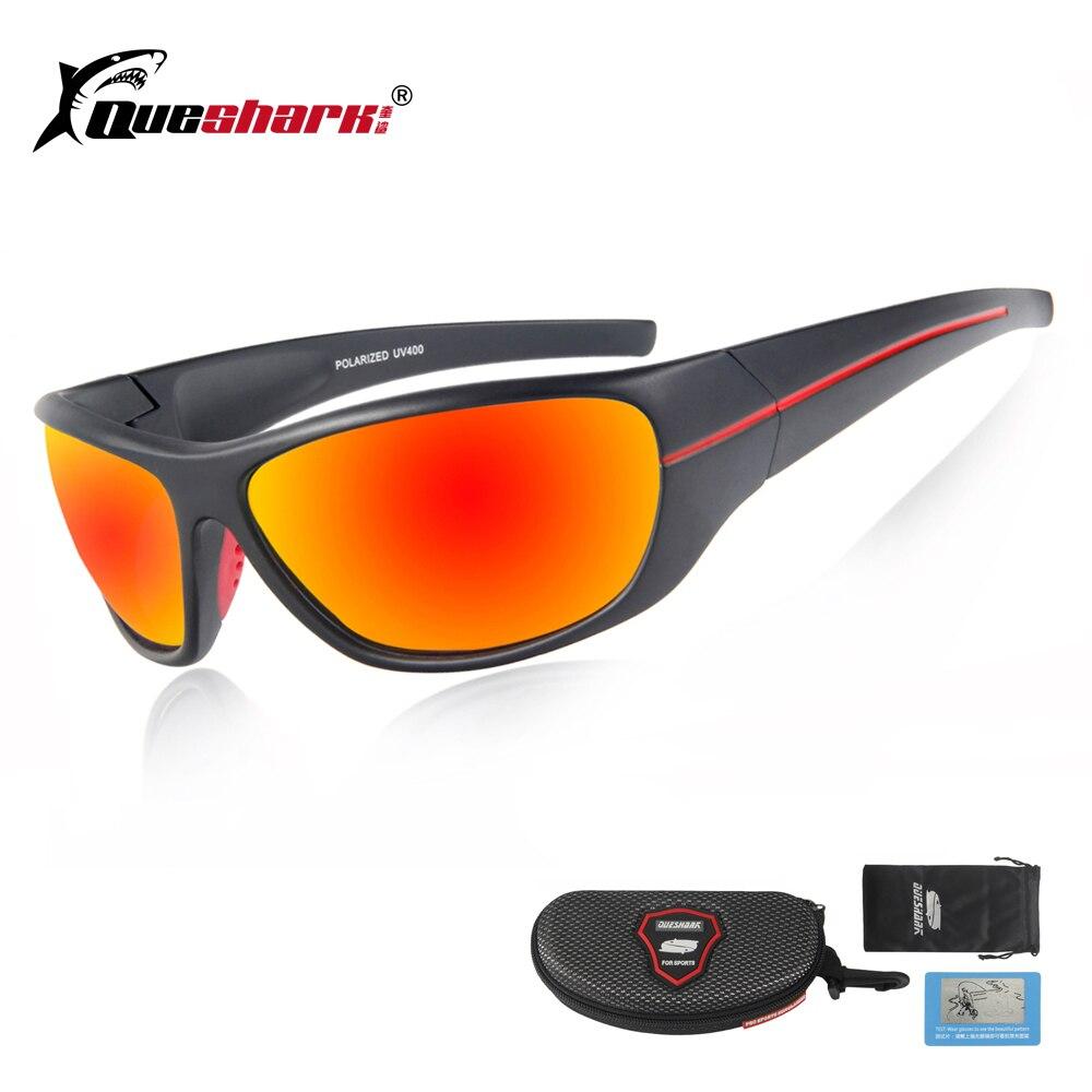 464aa1b42eb48 QUESHARK Homens Polarizada Óculos De Sol De Pesca Proteção Uv Preto Camping  Caminhadas Óculos Óculos Esportivos Bicicleta Óculos de Lente Vermelha