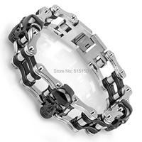 9 21cm Top Quality Mens Rocker Cowboy Skull Bling 316L Stainless Steel Silver Bracelet Chain Factory Price