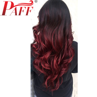 PAFF Ombre 99J Lace Front Human hair Wig For Women Peruvian Virgin Hair Wig Two Tone Darker Wine Color Wig Free Part Baby Hair