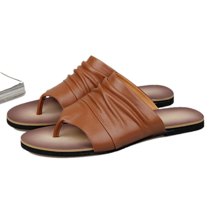 ONS 6 10 Mannen Vintage Lederen Casual Flip Flop Slipper Casual Strand Sandalen Zomer Outdoor Schoenen - 3