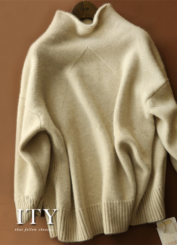 beige brown women's fashion cashmere casual pullover sweater coat stand neck thicken S/2XL wholesale retail - 2