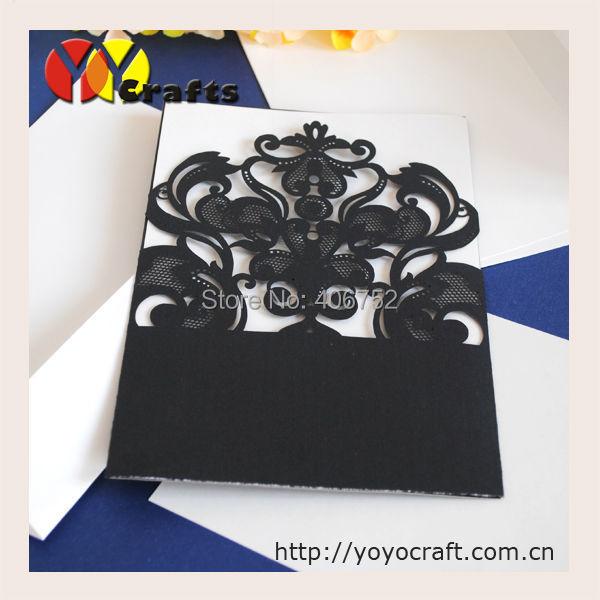 Laser cut birthday invitation cards,black filigree wedding