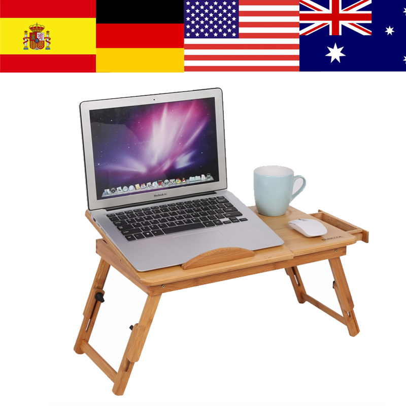 Bamboo Laptop Stand Adjustable Folding Table Computer Desk