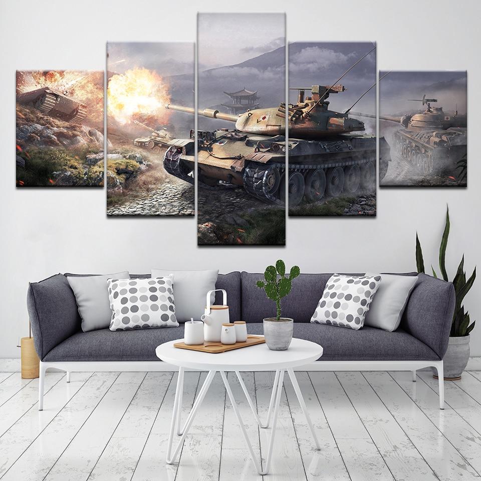 Svet rezervoarjev 5 kosov Wall Art Canvas Natisni moderni Poster - Dekor za dom