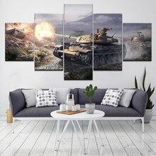World of tanks 5-delige kunst aan de muur canvaskunst moderne poster modulaire kunst schilderij voor woonkamer woondecoratie