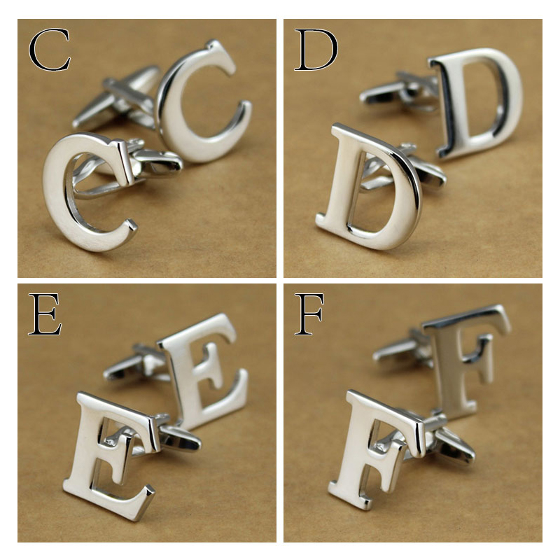 Luxury Metal A-Z Letter Men Women Cufflinks Fashion Brand Durable Suit Business Shirt Cuff Link Quality Wedding Gift Cuff Button