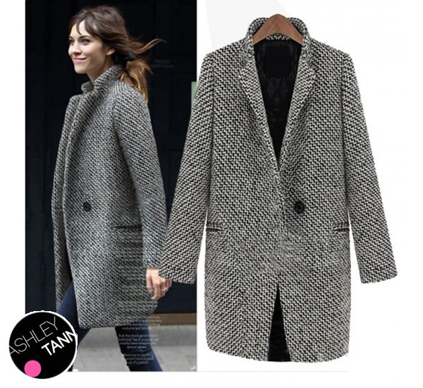 FREE SHIPPING Black And White Classic Ladies Overcoat Tweed Warm ...