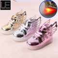 Children Shoes 2017 New Spring Hello Kitty Rhinestone Led Shoes Girls Princess Cute Shoes With Light EU 21-30