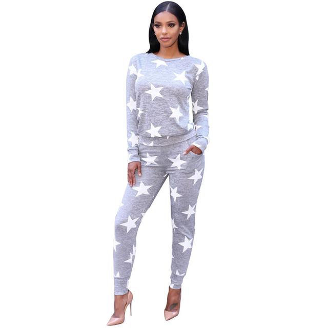 Five Star Printed Sweatshirts Tops and Pants Women Loose Casual Gray 2 Piece Winter Suits Long Sleeve Slim Sexy Tracksuits hot