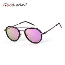 Good Win Retro Oval Pilot Sunglasses Women Men Luxury Brand Coating Reflective Female UV400 dames zonnebril