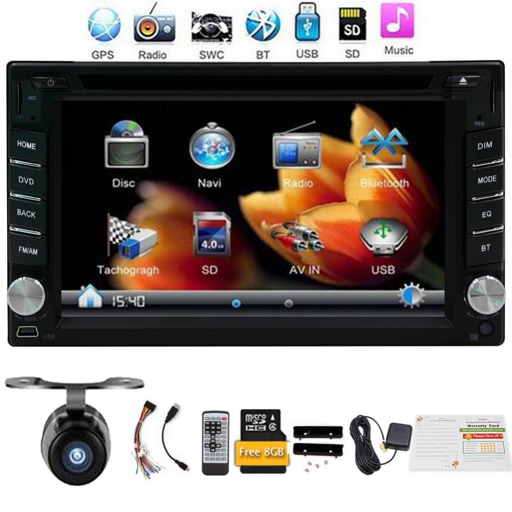 Free camera car dvd player with font b GPS b font Navigation Bluetooth car stereo 8GB
