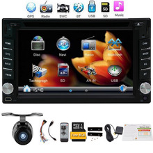 Free camera car dvd player with GPS Navigation Bluetooth car stereo 8GB GPS Map Digital touch radio multimedia AUX SD USB Audio