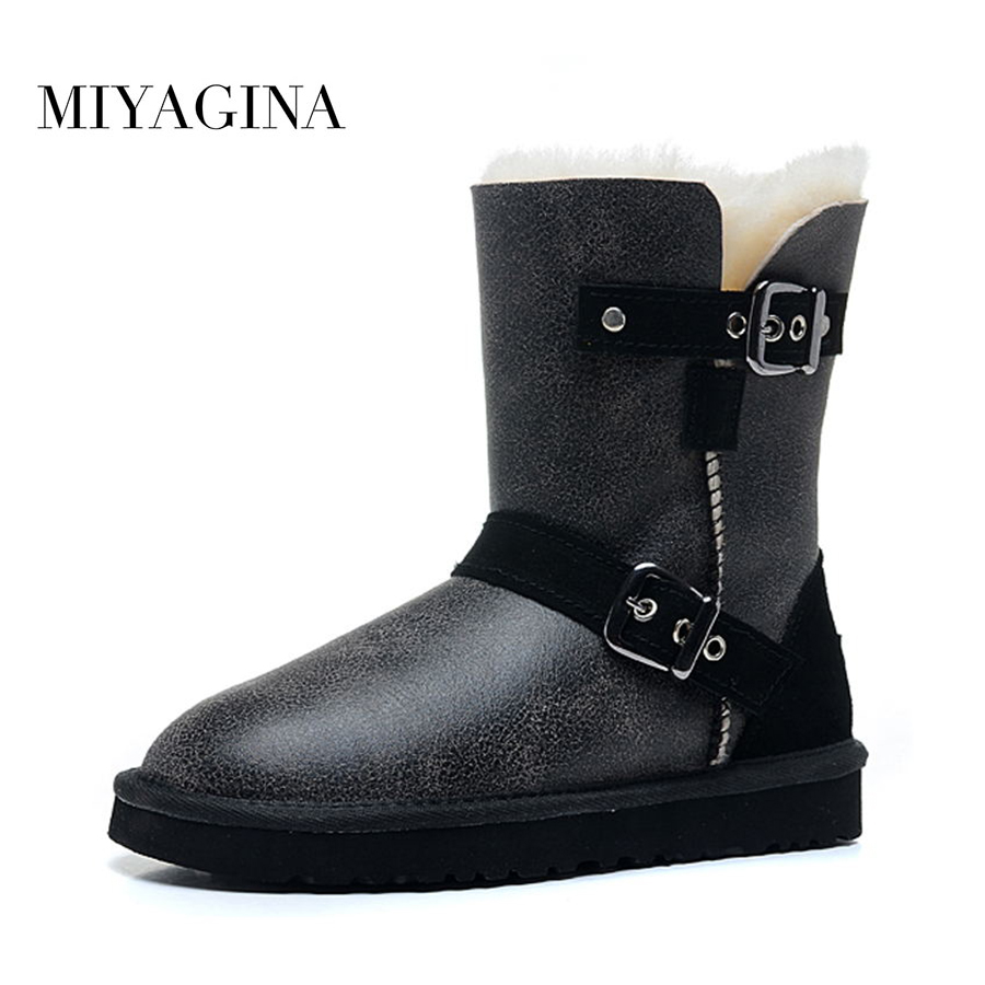 New Fashion Women Snow Boots Genuine Sheepskin Leather Snow Boots 100% Natural Fur Winter Boots Warm Wool Women Boots new fashion brand women snow boot genuine sheepskin leather snow camouflage boots natural fur winter boots warm wool women boots