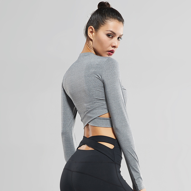 Sexy Exposed Women Long Sleeve Navel Yoga T shirts