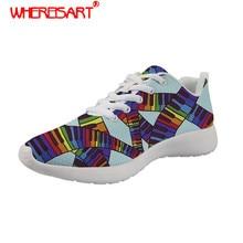 WHEREISART Música Nota Padrão Teclado de Impressão Mulheres Sapatos para Adolescentes Tênis Das Senhoras Lace-up Sapatos Rasos Feminino Calçado