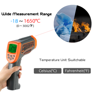 Image 5 - AT1650   18 1650C 20:1 Digital Thermostat Infrared Thermometer LCD Pyrometer+Backligt C/ F Temperature meter Data Storage