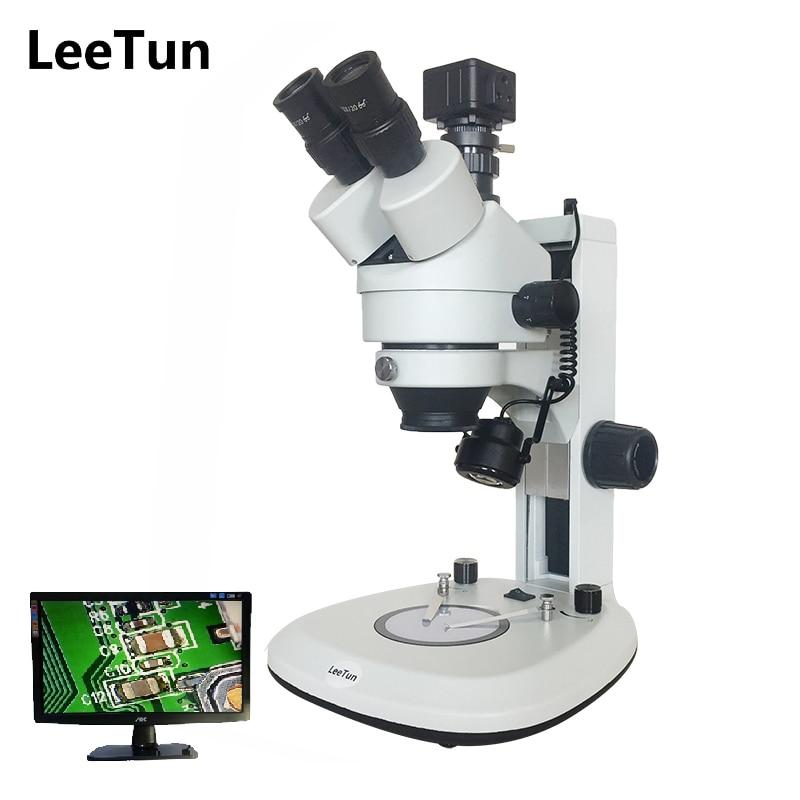LeeTun 3 5X 90X Digital Zoom Illuminated Industrial Stereo Microscope Trinocular Head Top Bottom LED Light
