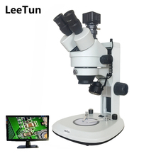 Sale LeeTun 3.5X-90X Digital Zoom Illuminated Industrial Stereo Microscope Trinocular Head Top Bottom LED Light 5.0MP USB Camera