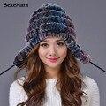 2016 Зимние Шапочки Hat для Женщин Трикотажные Кролика Полосатый Моды Свободный Размер Случайный Русский Hat женщин Бесплатная доставка