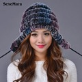 2016 Winter Beanies Fur Hat for Women Knitted Rabbit Fur Striped Fashion Free Size Casual Russian Women's Hat Free Shipping