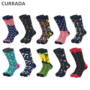 Image 1 - 10pairs/lot Brand Quality Mens Happy Socks Combed Cotton colorful Funny cartoon Socks fashion long male compression Casual sock