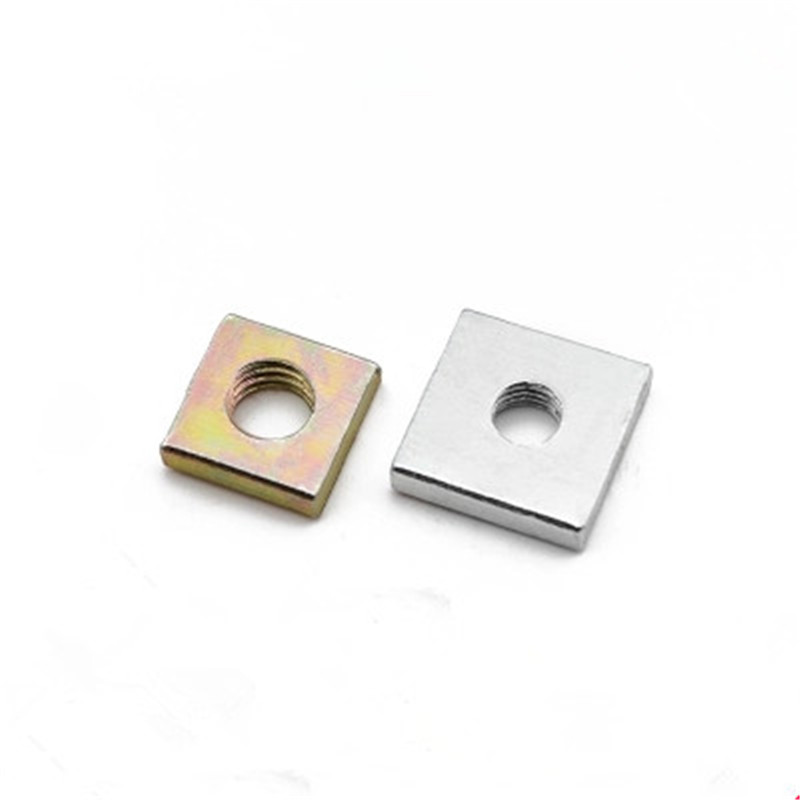 100pcs Galvanized thin square nut Color Zinc Plated Square Nuts Without Bevel Block Square Qu Madra M3 M4 M5 M6 M8