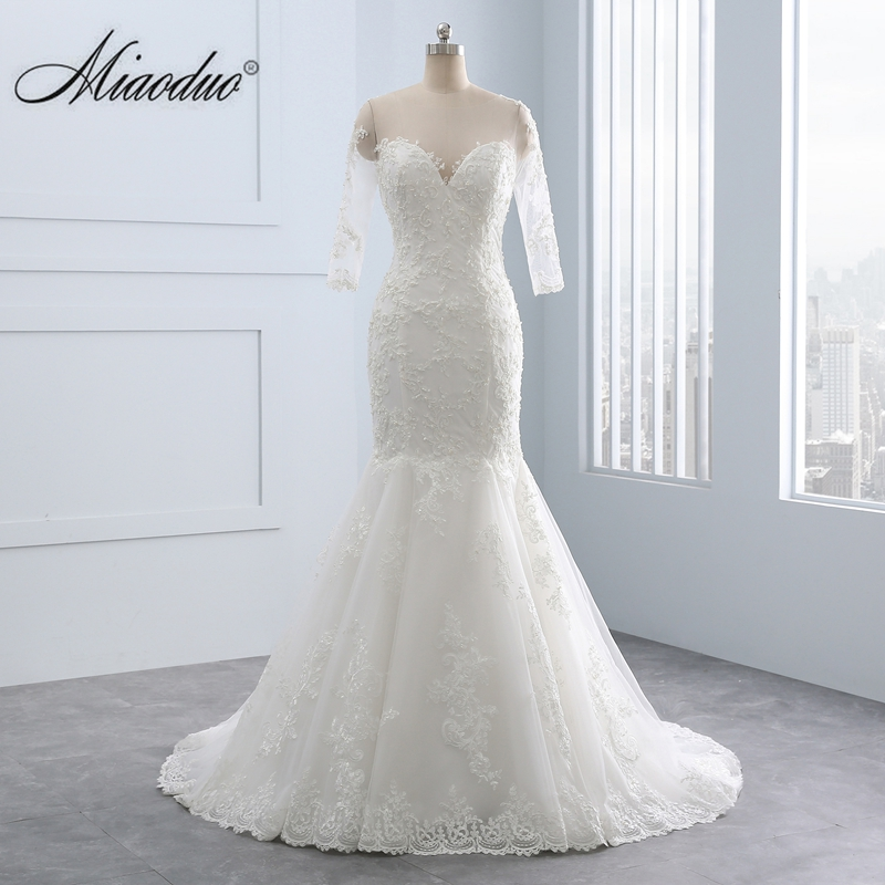 Mermaid Wedding Dress Half Sleeve Wedding Dress Mermaid Style White Color Lace Appliques Africa ivory vestido