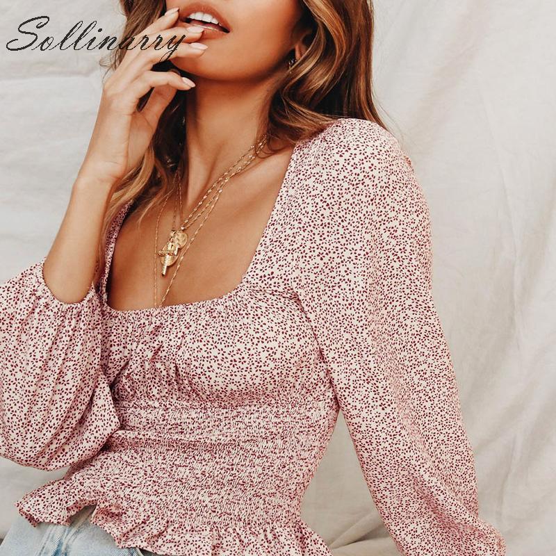 Sollinarry Vintage femmes 39 s Blouses à manches longues à volants décontracté automne hiver Blouse chemises femme col carré Boho haut sexy
