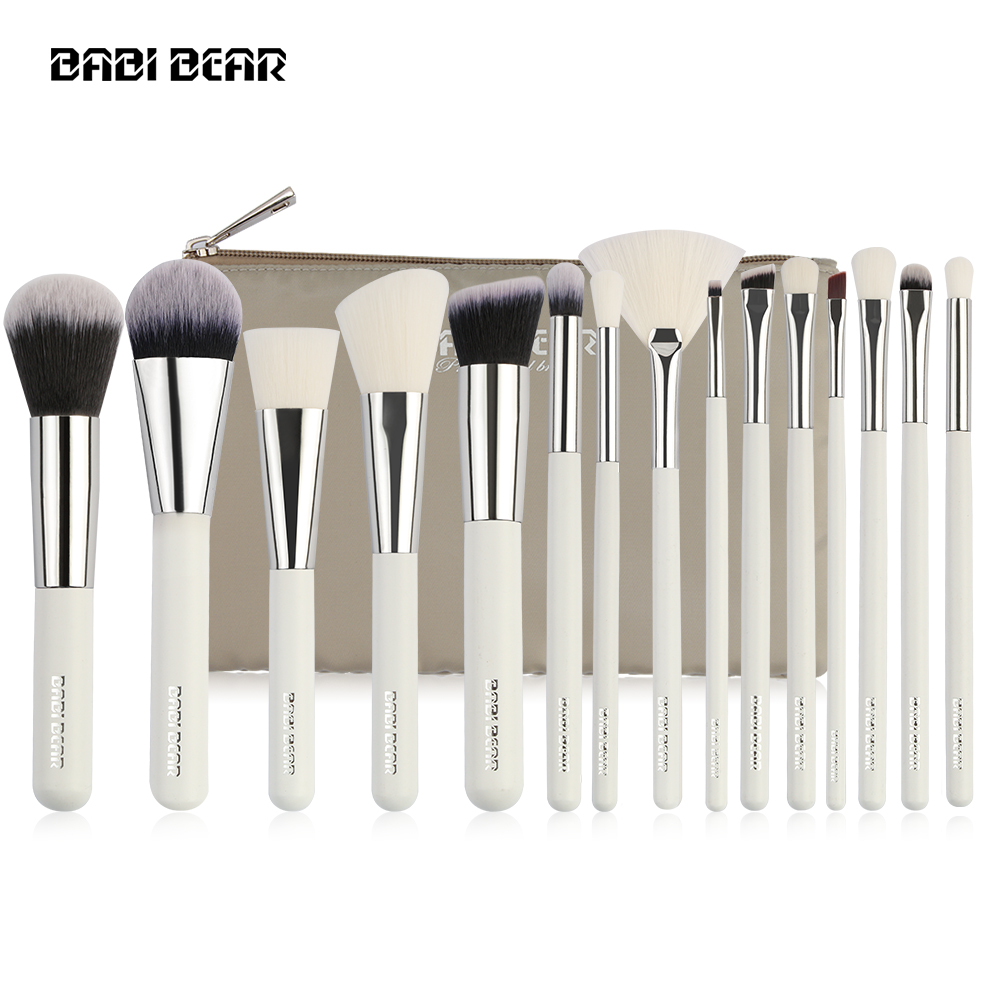 15Pcs Silver/White Professional Makeup Brushes Set Make Up Brush Tools Kit Foundation Powder Brush Natural Synthetic Hair Beauty jessup rose gold black professional makeup brushes set make up brush tools kit foundation powder brushes natural synthetic hair