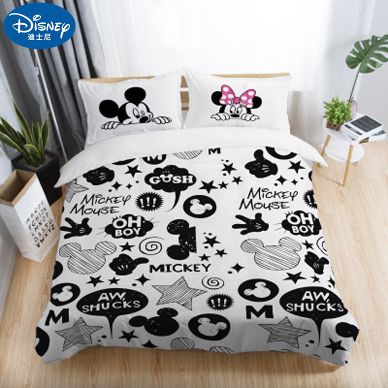 3Pcs Disney White Mickey Minnie Mouse  Bedding Sets Adult Twin Full Queen King Bedroom Decoration Duvet Cover Set Pillowcase