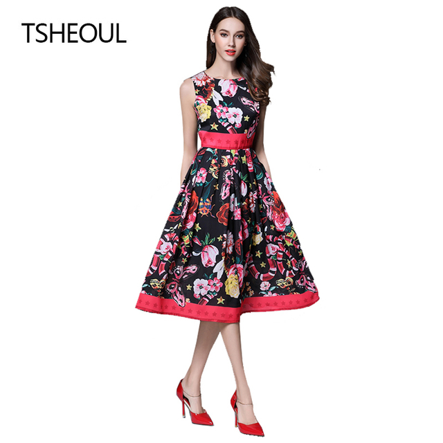 ac712e5d € 59.42 |Elegante Vestido Estampado de Flores Las Mujeres de La Vendimia 50  s 60 s Oscilación Rockabilly Pin Up Vestido de o cuello Del Vestido ...