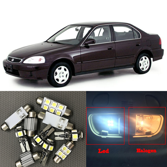 9pcs White Auto Interior LED Light Bulbs Kit For 1996 1997 1998 1999 2000 Honda  Civic
