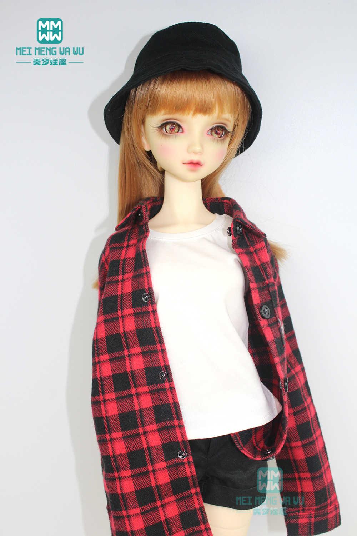 Accessori BJD vestiti per le bambole fit 57-60 centimetri 1/3 BJD DD SD bambola di modo plaid rosso della camicia, T-Shirt