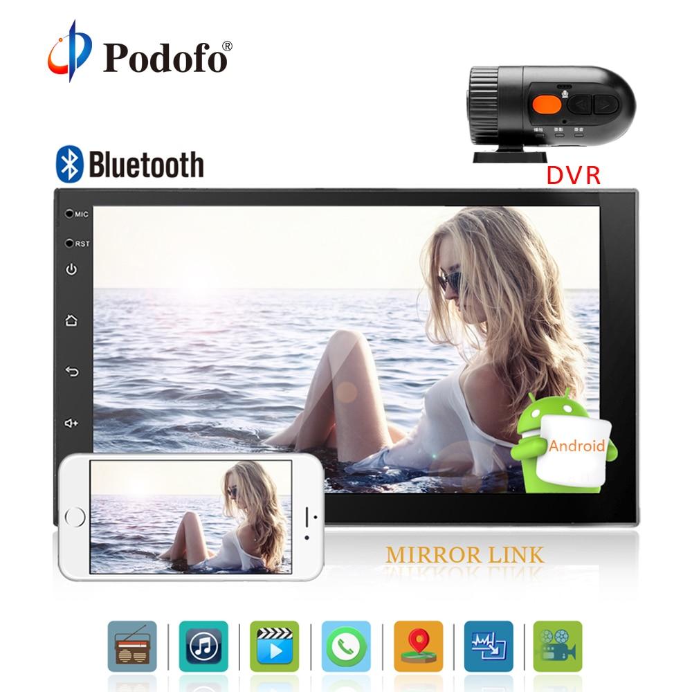 Podofo Voiture DVR avec 2 Din 7 Android Universel De Voiture Radio lecteur Multimédia GPS Navigation Voiture Stéréo Miroir Lien FM Rds Wifi DAB