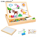 Cielarko Learning Educational Farm Animal Wooden Magnetic Puzzle Toys for Children Jigsaw Baby Drawing Easel Board LYJ2