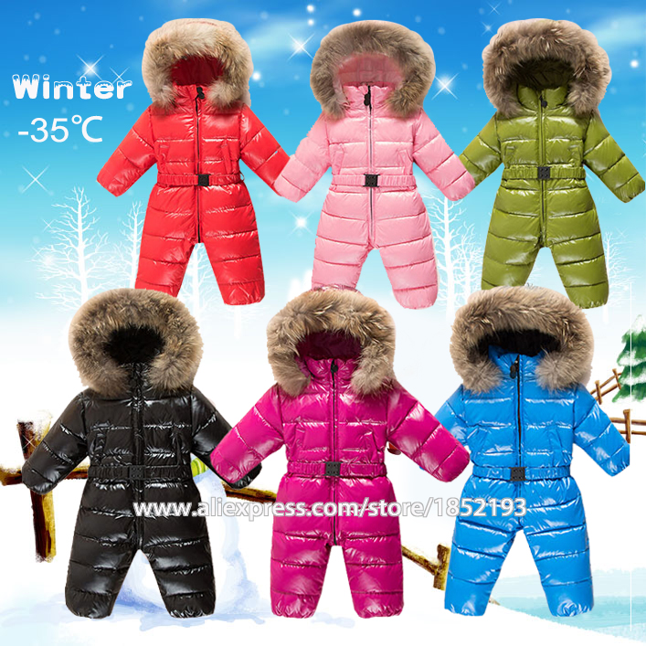 Russia winter outfit baby jumpsuit infants warm clothes coveralls feather down snowsuit boys clothes raccoon fur collar hooded цена