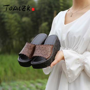 Handmade leather women's shoes, thick bottom muffin bottom slope with slippers, hollowed carving high heel female slippers