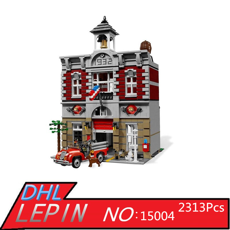 City Creator Fire Brigade Model LEPIN 15004 2313Pcs Building Kits figures Blocks Bricks Compatible Toys for Children Gift 10197 335pcs 0370 sluban figures aviation city aircraft medical air ambulance model building kits blocks bricks toys for children gift