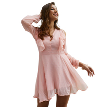 Vintage new mid-rise V-neck solid chiffon long-sleeved short dress female sweet  A-line vestidos 2019 women party elegant