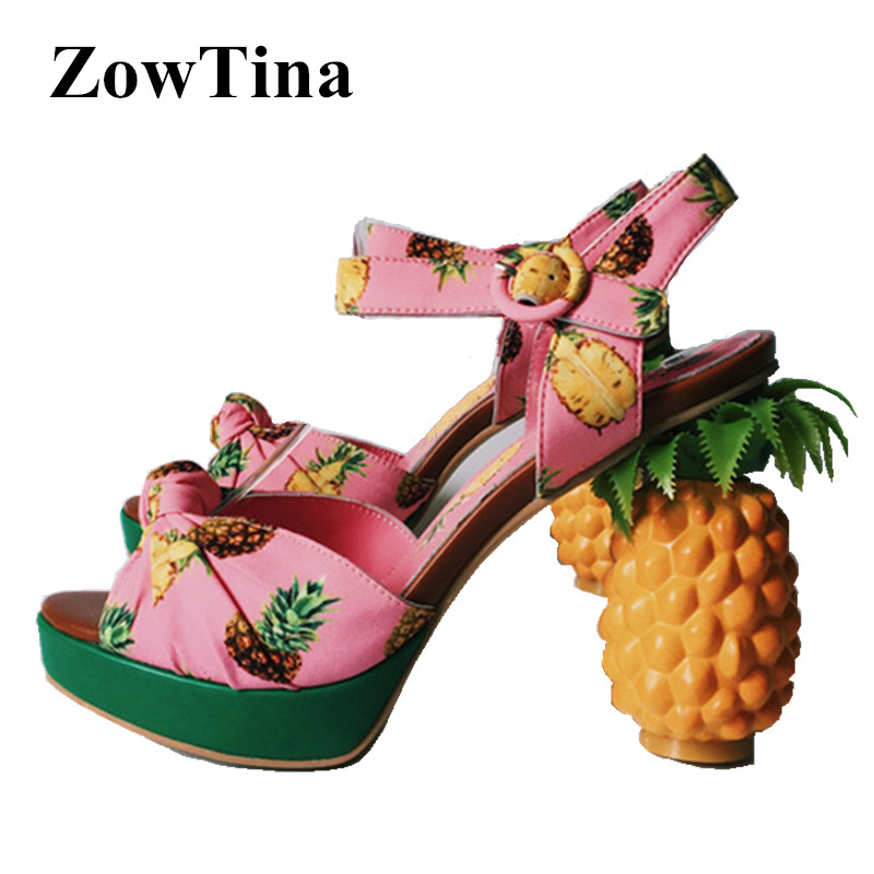 Women Pink Platform Sandals Pineapple Chunky 11cm High Heels Summer Shoes Woman Ankle Strap Valentina Ladies