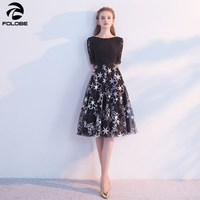 7910bb9495 FOLOBE 2018 New Autumn Fashion A Line Half Sleeve Black Dress Banquet Party  Lace Women Dresses