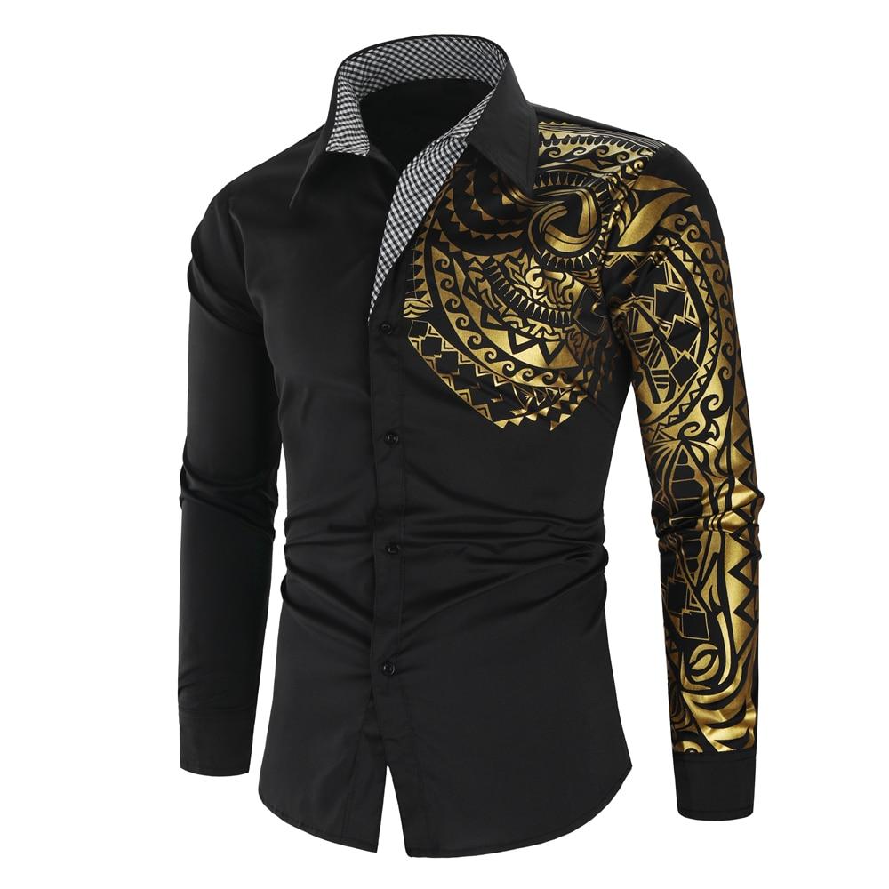 2021 Luxury Gold Black Shirt Men New Slim Fit Long Sleeve Camisa Masculina Gold Black Chemise Homme Social Men Club Prom Shirt